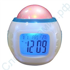 Музыкальные часы-будильник с проектором звездного неба