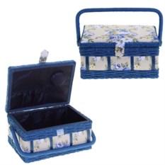 Синяя шкатулка для рукоделия, размер 25,5х19х13,5 см