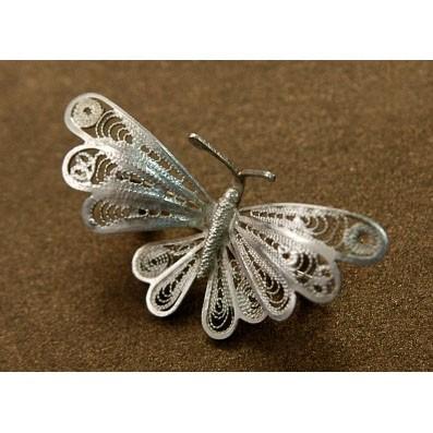 Филигранная серебряная брошь «Бабочка»
