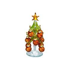 Стеклянная елка на подставке с миниатюрными шариками
