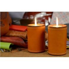 Комплект подсвечников из оранжевой кожи Elole Design