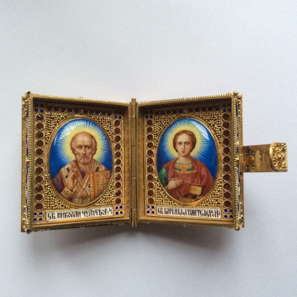 Карманный складень Николай и Св. Пантелеймон