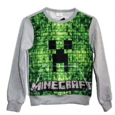 Серый свитшот с карманом кенгуру Крипер Minecraft