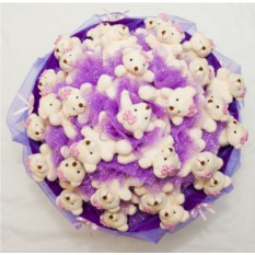 Фиолетовый букет Чувства из плюшевых мишек