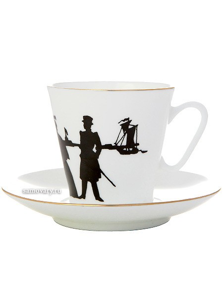 Фарфоровая чашка с кофейным блюдцем формы Черный кофе