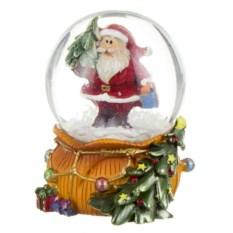 Декоративная фигурка Новогодний шар с Сантой и елкой