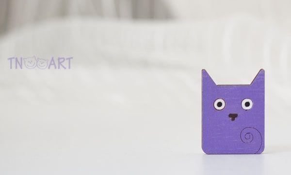 Брошь КвадроКот, фиолетовый