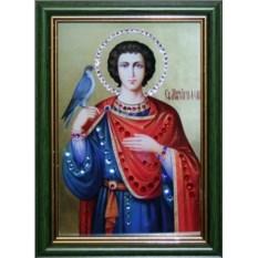 Икона с кристаллами Swarovski Святой Трифон