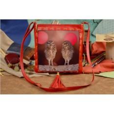 Женская сумка-планшет с принтом Забавные совушки