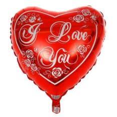 Шар-сердце с розами I LOVE YOU