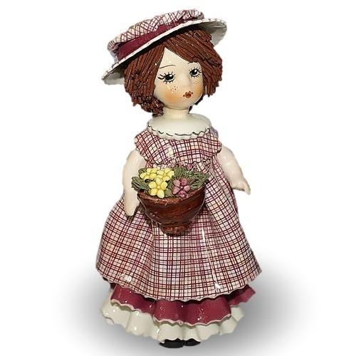 Статуэтка Кукла в розовом с цветами