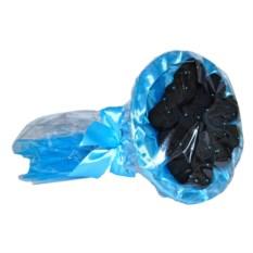Букет из носков (7 пар, бирюзовая упаковка, черные носки)