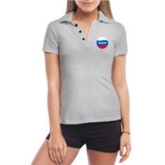 Серая женская футболка поло Алена
