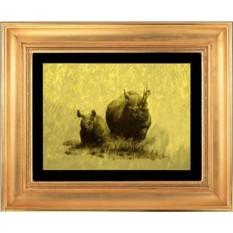 Гравюра из золота Носорог
