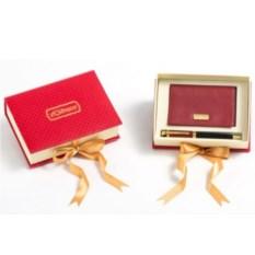 Подарочный набор из натуральной кожи Визитница, ручка
