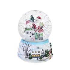 Новогодний снежный шар Шар- Дед Мороз и снеговик у елки