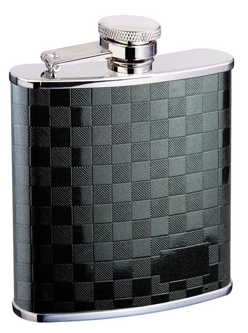 Металлическая фляга S.Quire, черный узор из квадратов