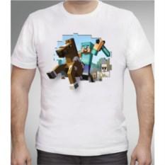 Белая футболка Стив на лошади