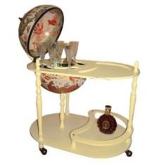 Напольный кремовый глобус-бар со столиком