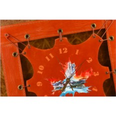 Часы из кожи Осень в городе (оранжевый)