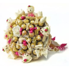 Большой букет с Ферреро Роше и игрушечными мишками в золоте