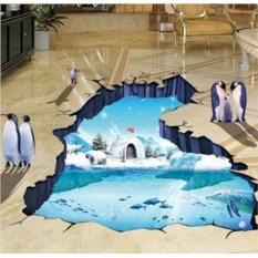 Виниловый напольный 3D стикер Северный полюс