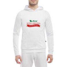 Белая мужская кенгурушка Merry Christmas