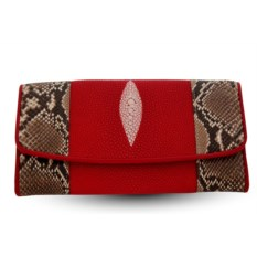 Женский кошелек из питона и ската (красный, натуральный)