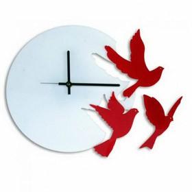 Часы настенные  птицы красные
