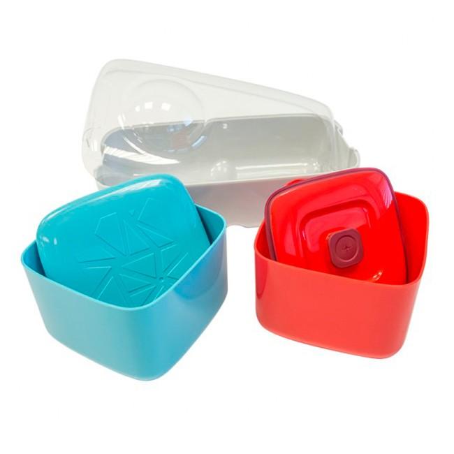 Ланч-бокс Compleat Optimal, кремовый, красный, голубой
