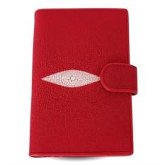 Красное портмоне из ската с отделениями для автодокументов