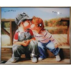 Картина с кристаллами Swarowski Детский поцелуй