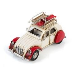 Ретро-модель Бело-красный автомобиль с фоторамкой
