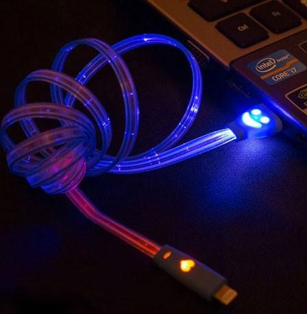 Кабель зарядки для мобильника со светодиодами