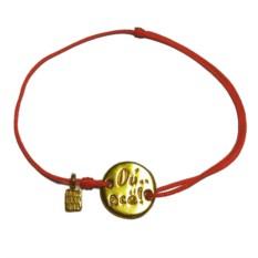 Золотой браслет Винни Пух на веревке