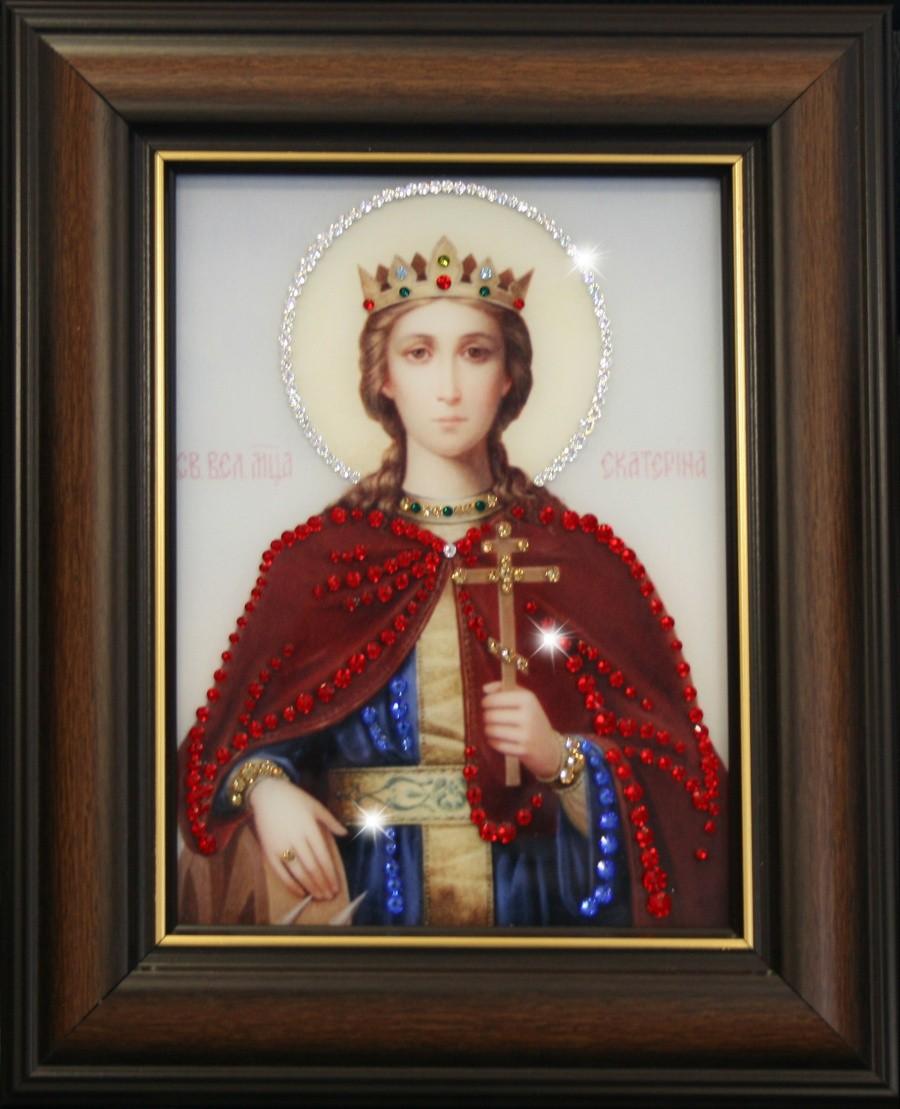 Икона с кристаллами Swarovski Святая Екатерина
