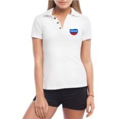Белая именная женская футболка-поло Триколор