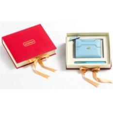 Подарочный набор Ручка и портмоне из экокожи (голубой)