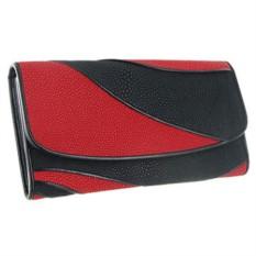 Красно-черный женский кошелек из кожи ската