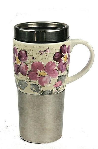 Термо кружка для чая и кофе Фиалка