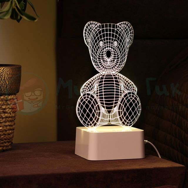 3D лампа Медведь