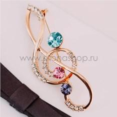 Брошь «Скрипичный ключ» с австрийскими кристаллами