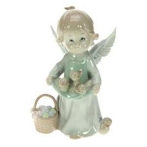 Фигурка декоративная Ангелочек с уточками, фарфор