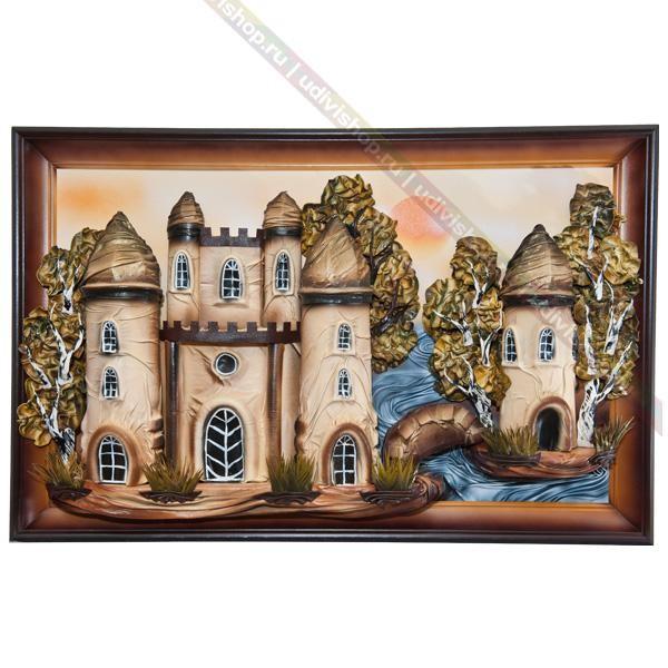 Объемная картина из кожи Замок