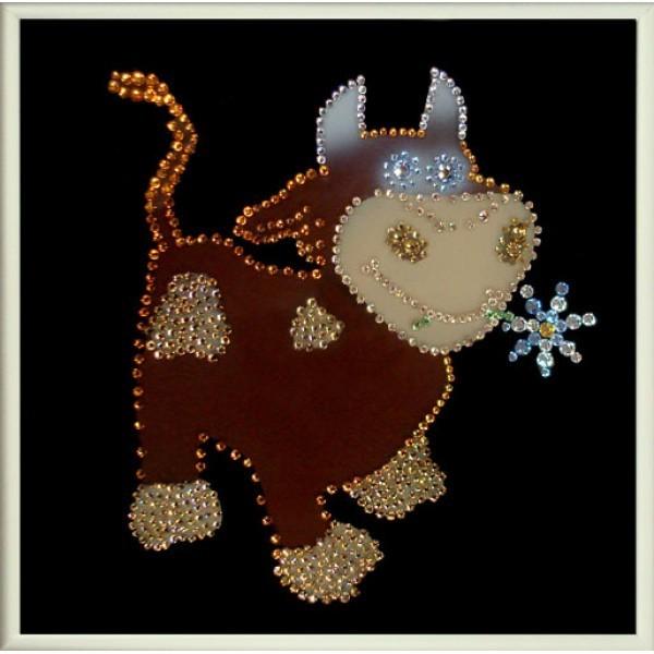 Картина с кристаллами Swarovski Бычок Гаврюша