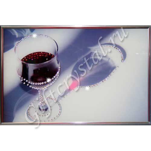 Картина с кристаллами Swarovski Бокал вина