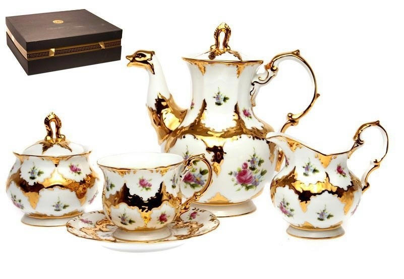 Чайный сервиз Букет с золотом