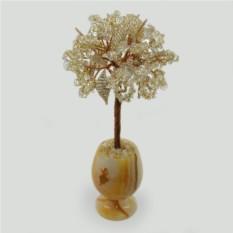 Дерево любви из горного хрусталя в вазочке из оникса