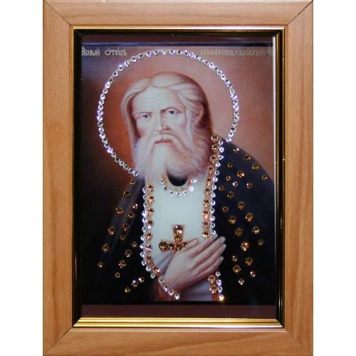 Малая икона с кристаллами Swarovski Серафим Саровский