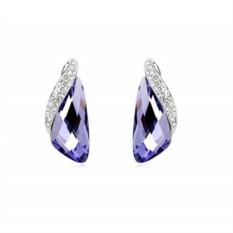 Фиолетовые серьги с инкрустированной вставкой Кристаллы
